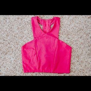 Express fuchsia/hot pink crop top
